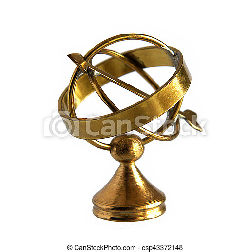 Ancient brass astrolabe. Miniature of ancient brass ...