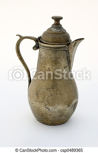 Ancient brass coffee pot - csp0489365