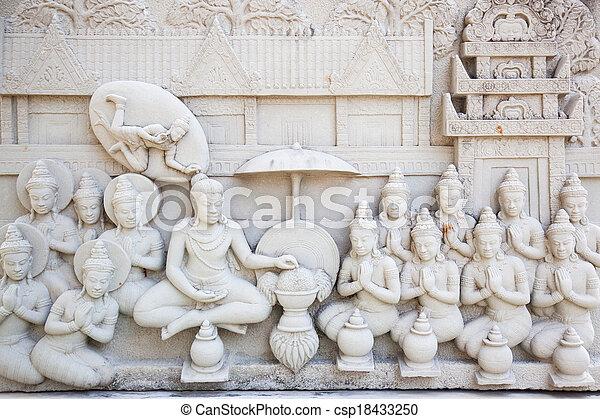 Ancient brick carving art of Buddha - csp18433250