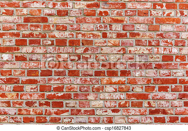 Ancient brick wall in red color - csp16827843