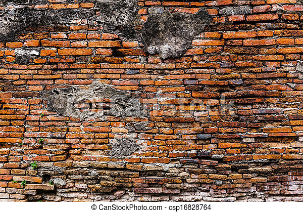 Ancient brick wall - csp16828764