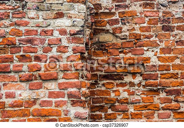 Ancient brick wall. - csp37326907