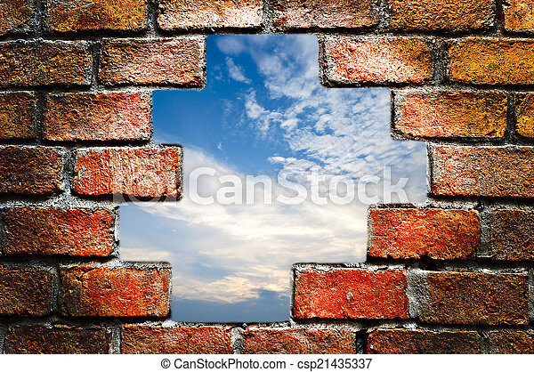 ancient brick wall - csp21435337
