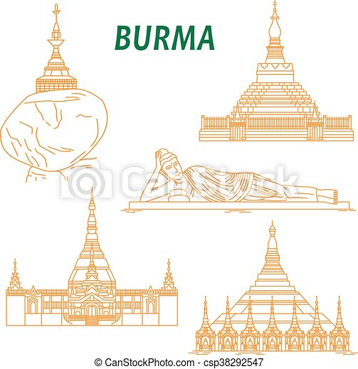 Ancient buddhist temples of Burma thin line icons - csp38292547