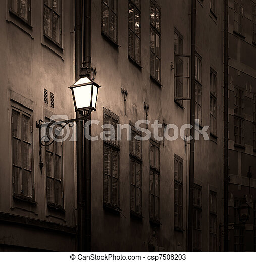 Ancient building with lantern - csp7508203