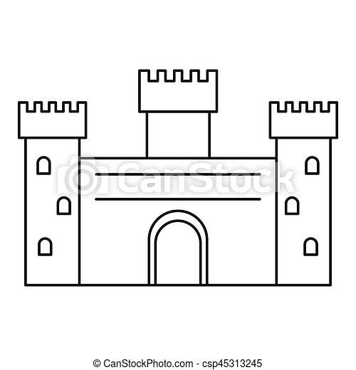 Ancient Castle Icon Outline Style Ancient Castle Icon Outline