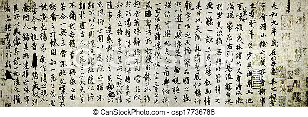 Ancient Chinese calligraphy   - csp17736788