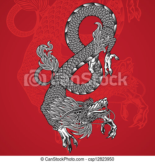 Ancient Chinese Dragon and red background - csp12823950