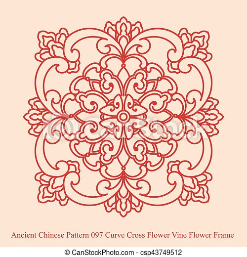 Ancient Chinese Pattern Of Curve Cross Flower Vine Frame