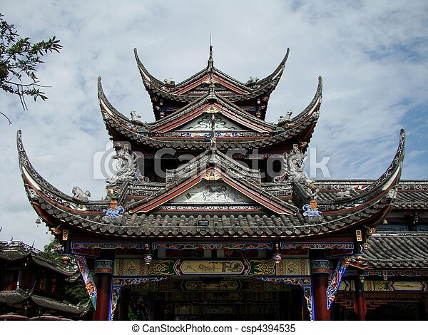 ancient chinese temple rooftop of traditional chinese