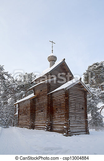 Ancient church of St. Nicolas built 1688. Vitoslavlitsy open-air museum of wooden architecture. Novgorod the Great, Russia   - csp13004884