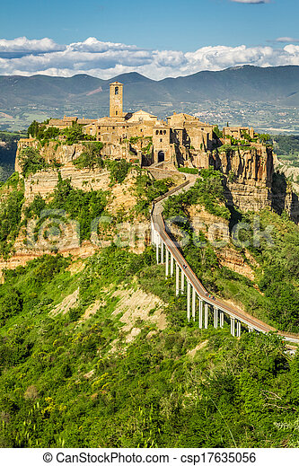 Ancient city on hill in Tuscany - csp17635056