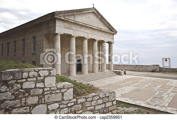Ancient classic Greek temple at Corfu - csp2359951