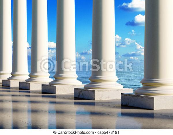 ancient columns at coast - csp5473191