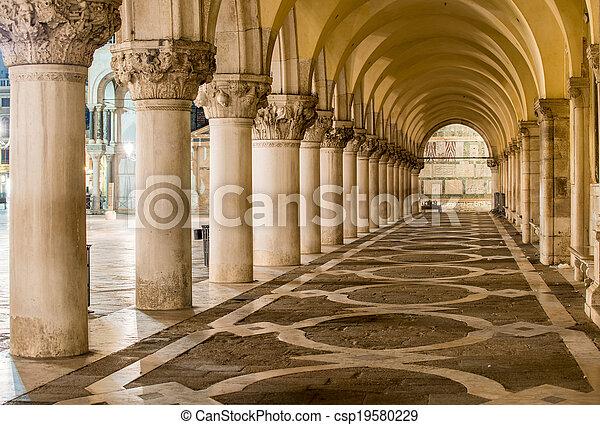 Ancient Columns in Venice. Arches in Piazza San Marco, Venezia - csp19580229