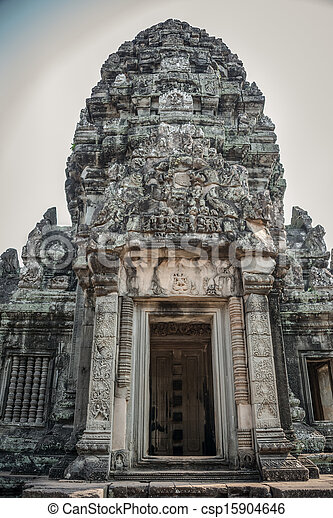 Ancient Door Angkor Ruins at Cambodia, Asia. Culture, Tradition, Religion. History. - csp15904646