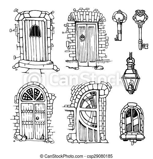ancient doors - csp29080185  sc 1 st  Can Stock Photo & Hand drawn set of ancient doors vector - Search Clip Art ...