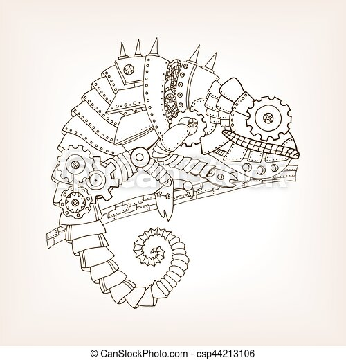 26e13db26 Ancient draft of mechanical chameleon vector. Ancient draft of ...