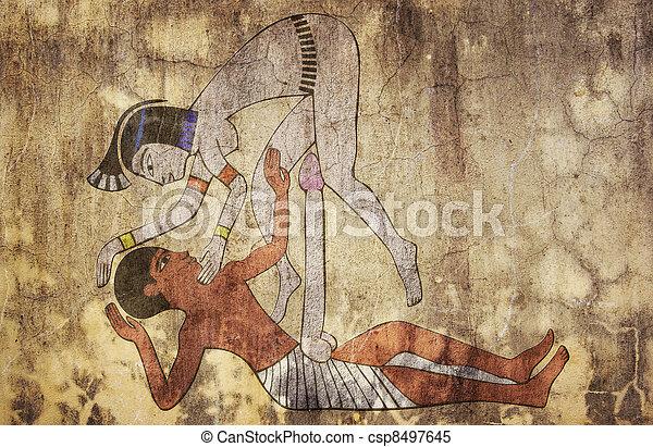 ancient Egypt - erotic drawing looks like fresco - csp8497645