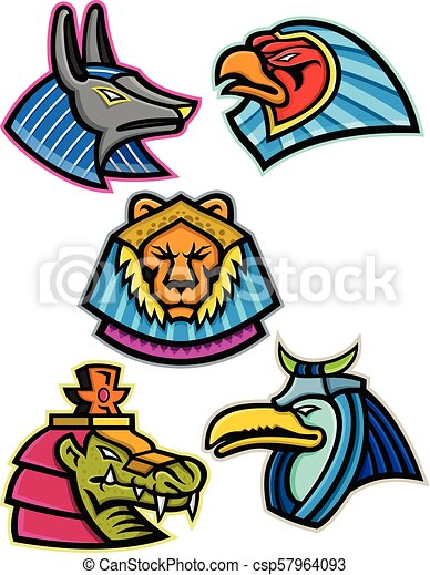 Ancient Egyptian Animal Gods Collection Mascot Icon Illustration