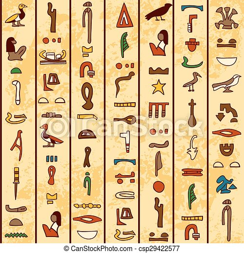 ancient Egyptian hieroglyphics - csp29422577