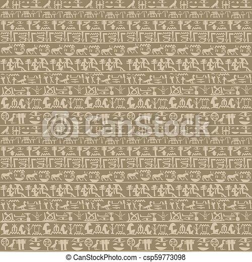 Ancient egyptian hieroglyphs seamless - csp59773098