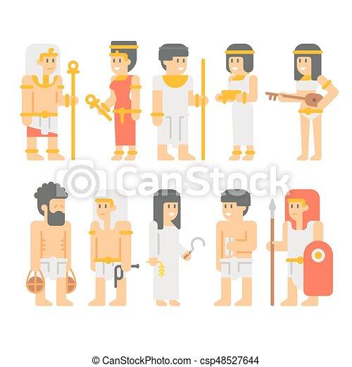 Ancient egyptian people set cartoon design - csp48527644