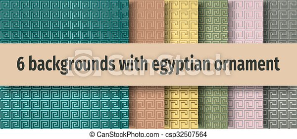Ancient egyptian seamless backgrounds - csp32507564