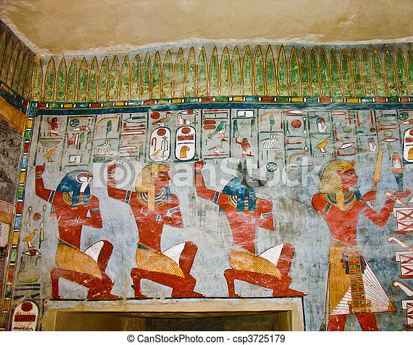 Ancient Egyptian Wall Painting   Csp3725179 Part 58