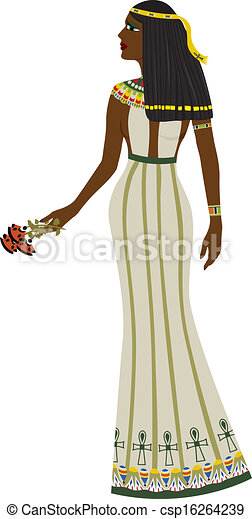 Ancient Egyptian woman full-length - csp16264239