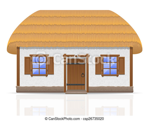 ancient farmhouse with a thatched roof illustration - csp26735020