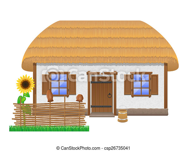 Ancient Farmhouse With A Thatched Roof Illustration Isolated On