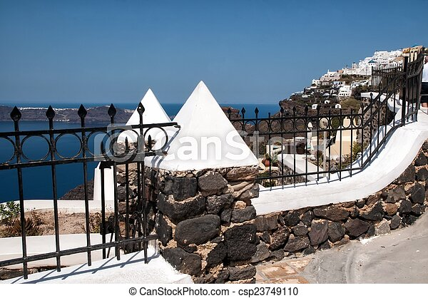 Ancient fence in Santorini, Cycladic islands - csp23749110