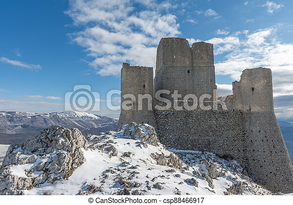 Ancient fortress in the Abruzzesi mountains - csp88466917