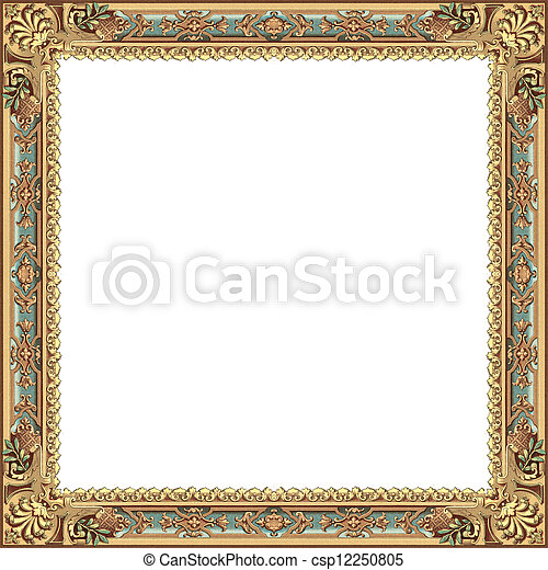 Ancient frame with gold and blue models isolated on white background.