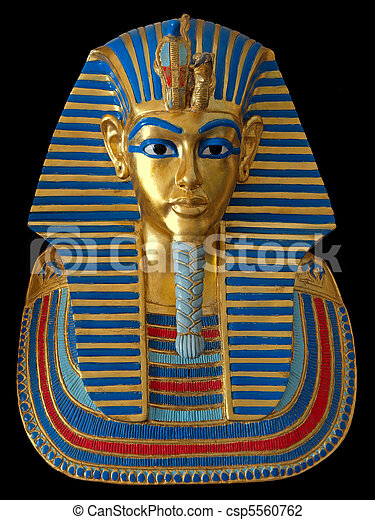 Ancient gold mask of the Egyptian Pharaoh - csp5560762