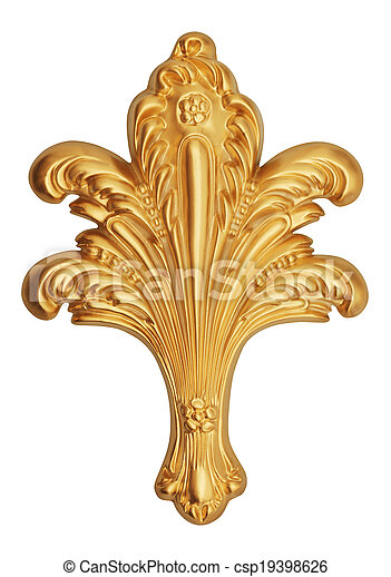 ancient gold ornament on a white  - csp19398626