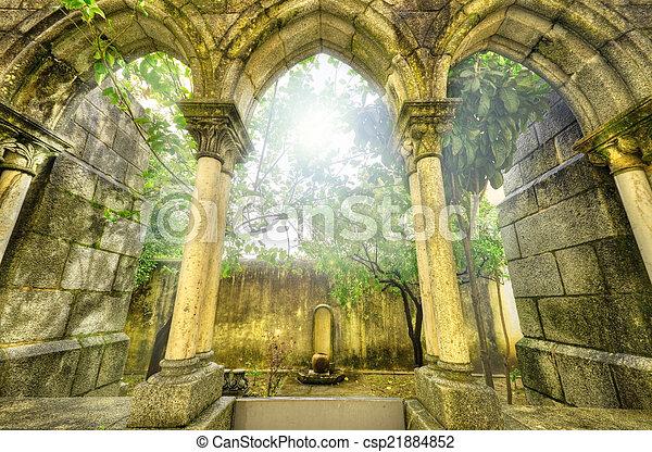 Ancient gothic arches in the myst. Fantasy landscape in Evora, P - csp21884852