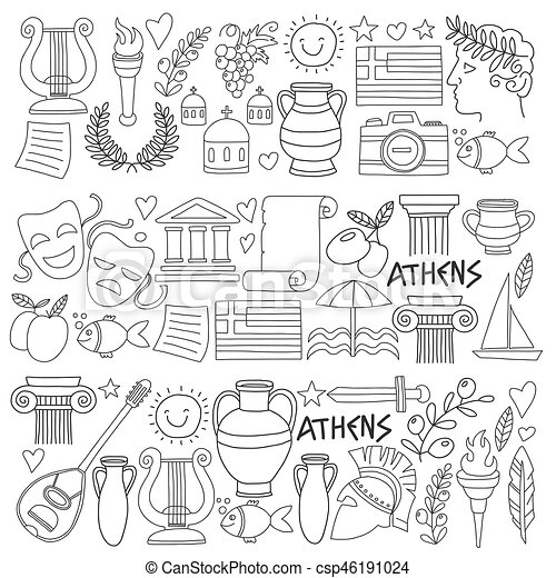 Ancient Greece Vector Elements In Doodle Style For Coloring Pages Travel History Music Food Wine