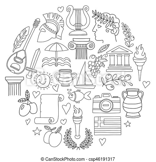 Ancient greece vector elements in doodle style for coloring pages ...