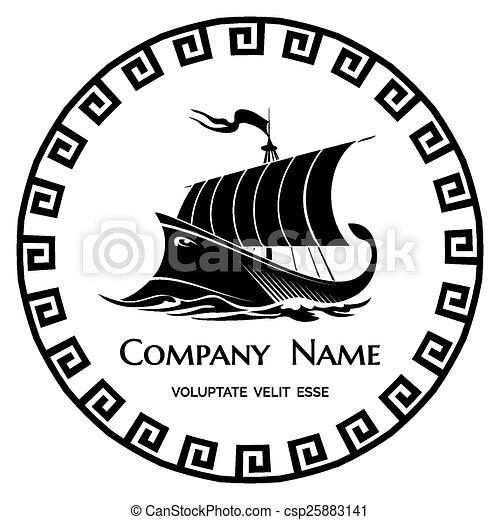 Ancient Greek Galley logo icon - csp25883141