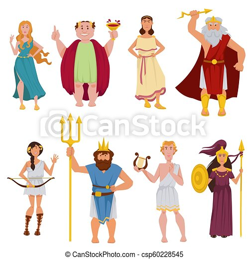Ancient Greek Gods Vector Cartoon Characters