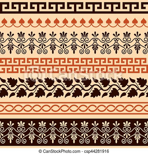 Ancient Greek Pattern Seamless Set Of Antique Borders From Greece Stunning Greek Vase Patterns