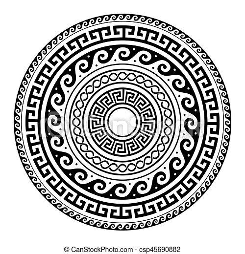 Ancient Greek round key pattern - meander art, mandala black shape - csp45690882
