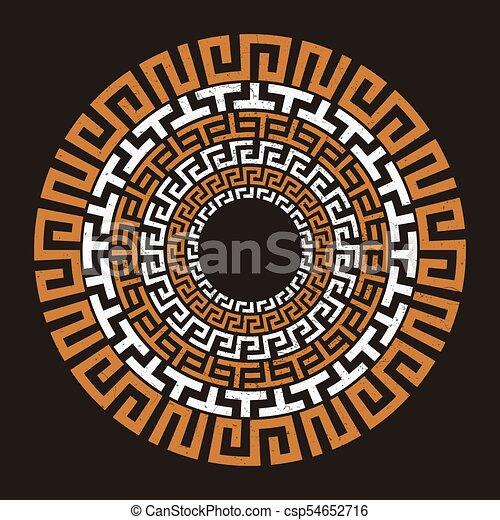 Ancient Greek Round Meander Key Symbol Grunge Design Vector