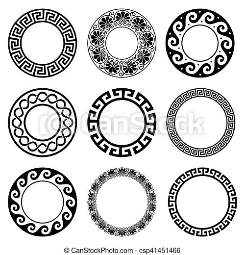 Ancient Greek Round Pattern Seamless Set Of Antique Borders From Delectable Greek Vase Patterns
