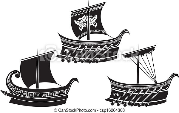 Ancient Greek ship set. stencil - csp16264308