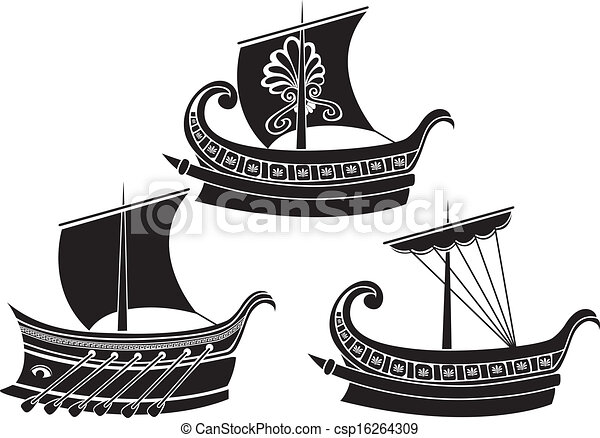 Ancient Greek ship set. stencil - csp16264309