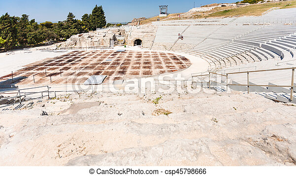 ancient Greek theater in Syracuse city in Sicily - csp45798666