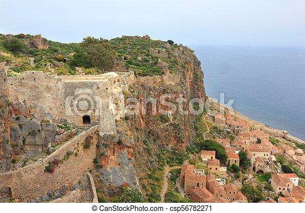 Ancient Greek town Monemvasia at coast - csp56782271